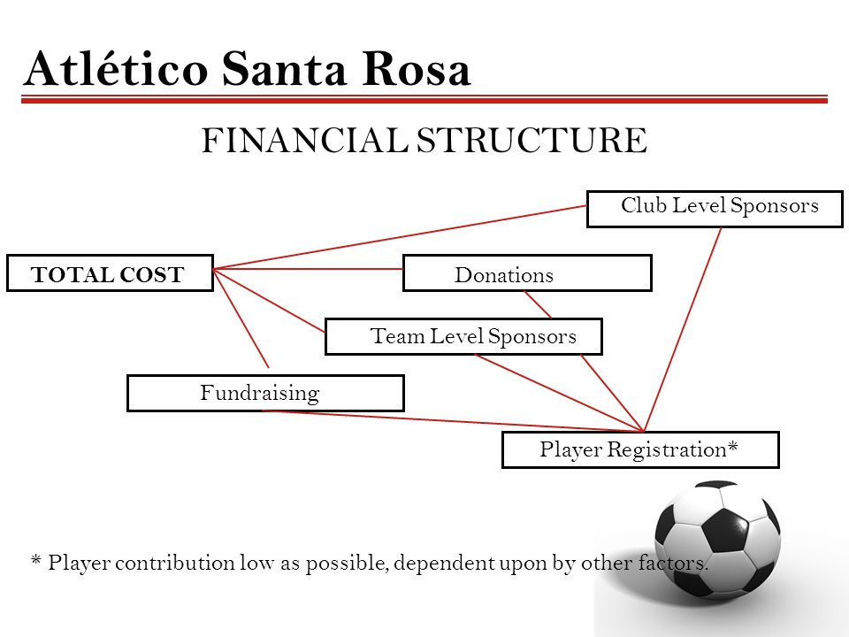 Atlético Santa Rosa FINANCIAL STRUCTURE Club Level Sponsors TOTAL COST Donations Team Level Sponsors Fundraising Player Registration* * Player contrib