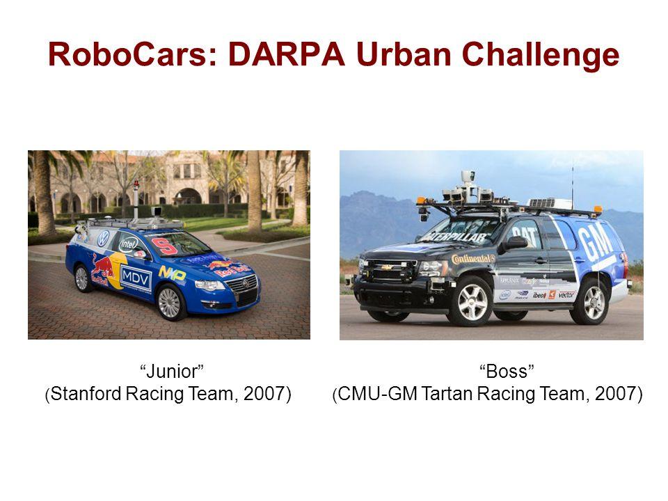 RoboCars: DARPA Urban Challenge Junior Boss ( Stanford Racing Team, 2007) ( CMU-GM Tartan Racing Team, 2007)