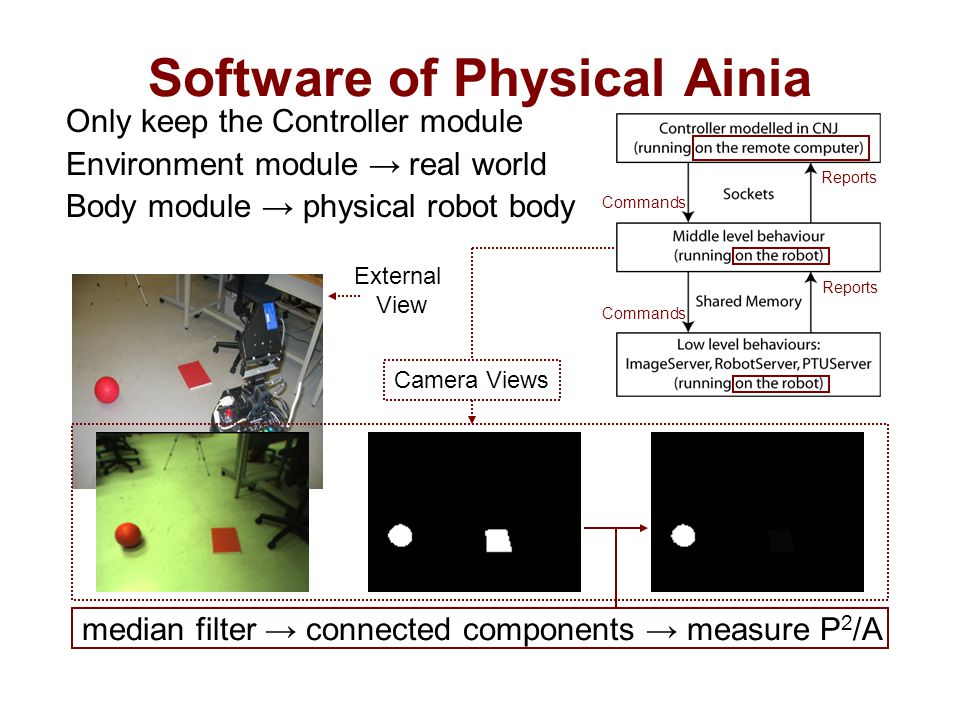 Only keep the Controller module Environment module → real world Body module → physical robot body Software of Physical Ainia median filter → connected components → measure P 2 /A Reports Commands Camera Views External View