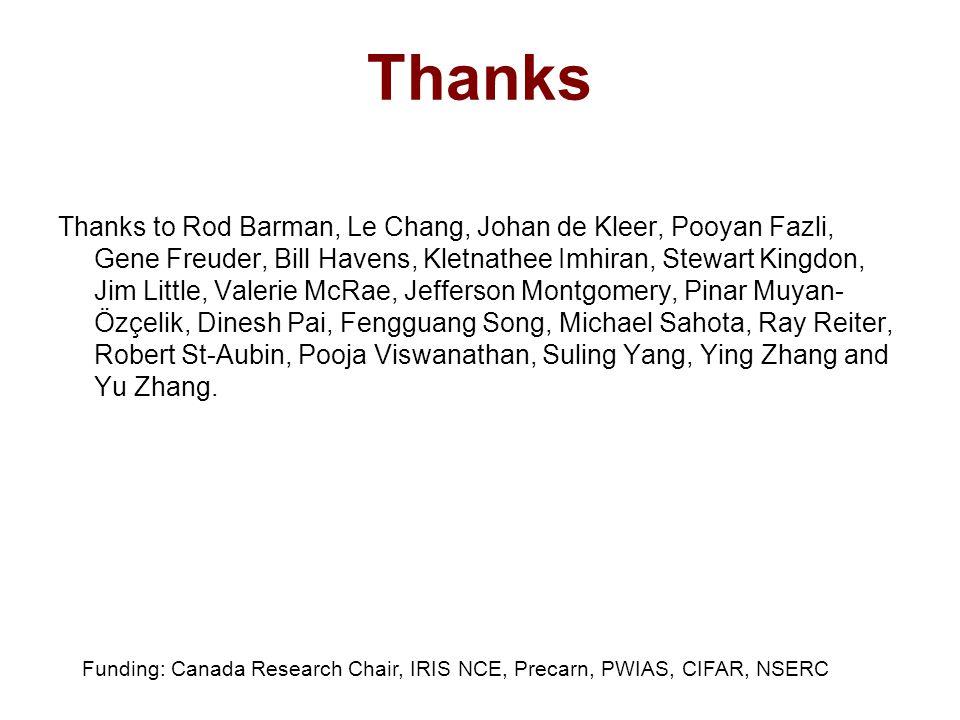 Thanks Thanks to Rod Barman, Le Chang, Johan de Kleer, Pooyan Fazli, Gene Freuder, Bill Havens, Kletnathee Imhiran, Stewart Kingdon, Jim Little, Valerie McRae, Jefferson Montgomery, Pinar Muyan- Özçelik, Dinesh Pai, Fengguang Song, Michael Sahota, Ray Reiter, Robert St-Aubin, Pooja Viswanathan, Suling Yang, Ying Zhang and Yu Zhang.