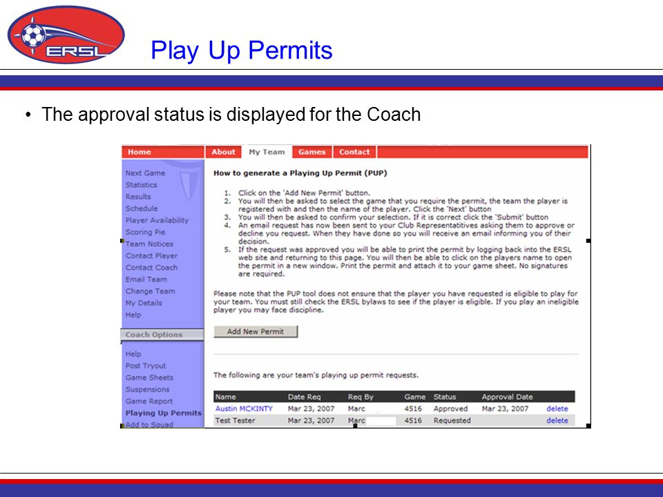 Play Up Permits The approval status is displayed for the Coach