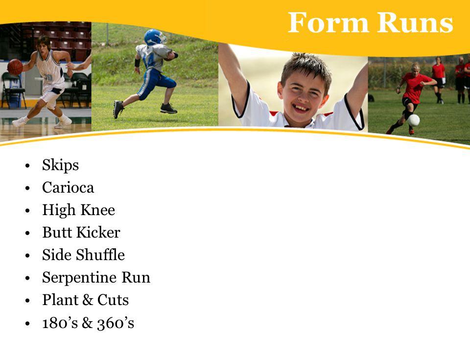 Form Runs Skips Carioca High Knee Butt Kicker Side Shuffle Serpentine Run Plant & Cuts 180's & 360's
