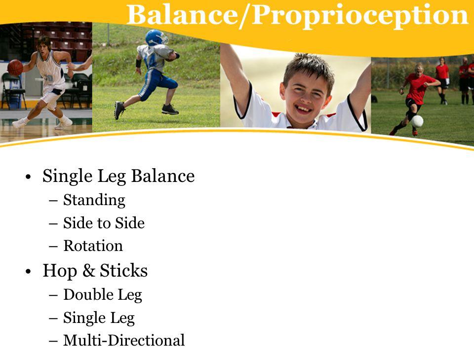 Balance/Proprioception Single Leg Balance –Standing –Side to Side –Rotation Hop & Sticks –Double Leg –Single Leg –Multi-Directional