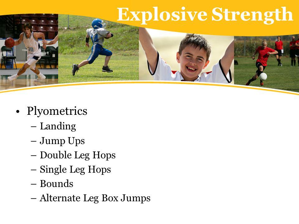 Explosive Strength Plyometrics –Landing –Jump Ups –Double Leg Hops –Single Leg Hops –Bounds –Alternate Leg Box Jumps