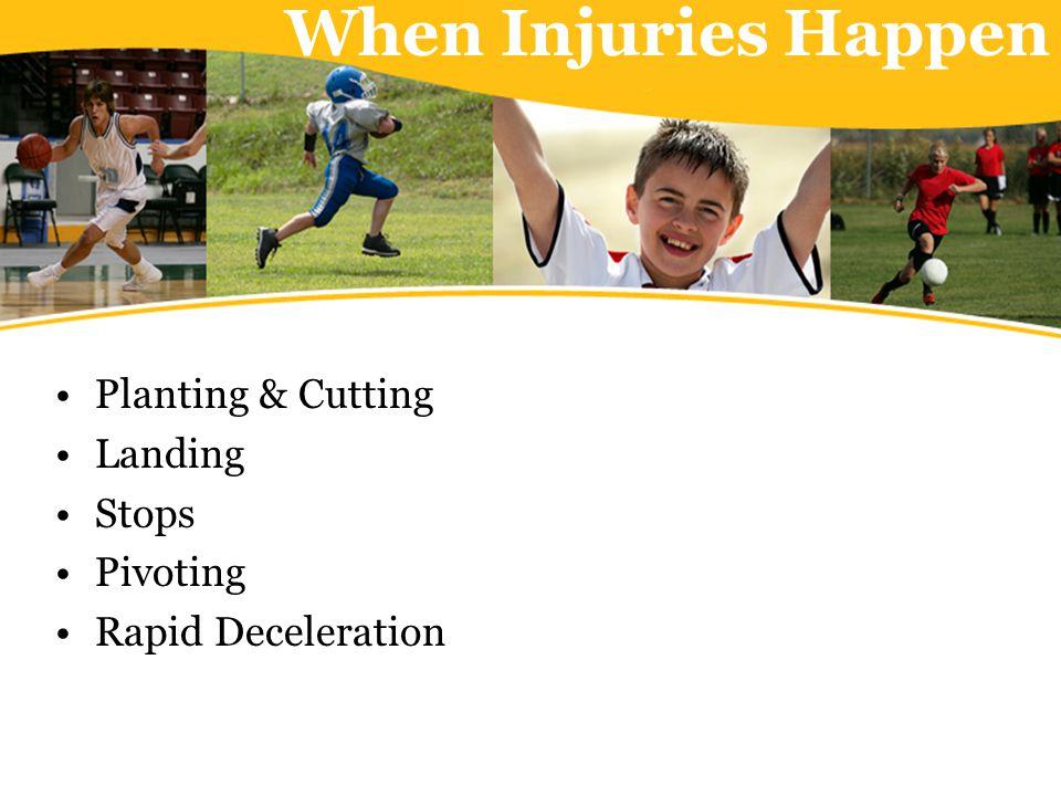 When Injuries Happen Planting & Cutting Landing Stops Pivoting Rapid Deceleration