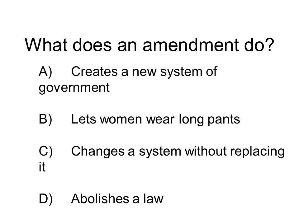 What does an amendment do.
