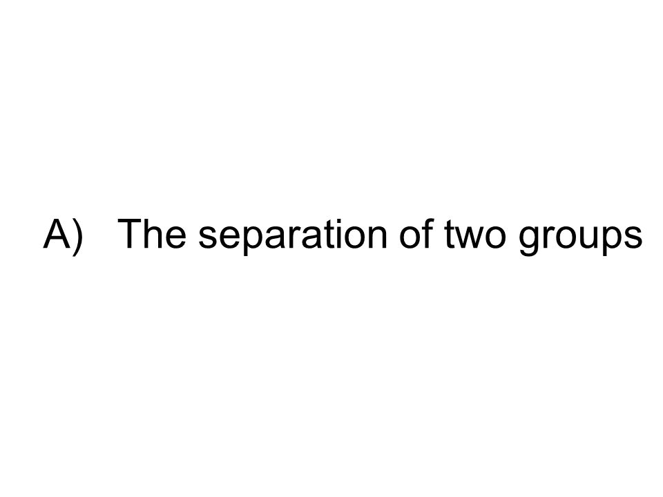 A) The separation of two groups