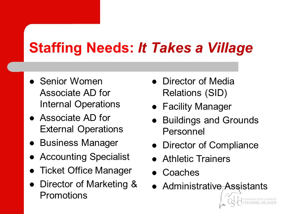 Staffing Needs: It Takes a Village Senior Women Associate AD for Internal Operations Associate AD for External Operations Business Manager Accounting Specialist Ticket Office Manager Director of Marketing & Promotions Director of Media Relations (SID) Facility Manager Buildings and Grounds Personnel Director of Compliance Athletic Trainers Coaches Administrative Assistants