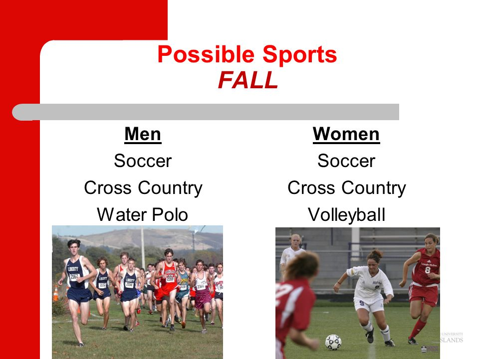 Possible Sports FALL Men Soccer Cross Country Water Polo Women Soccer Cross Country Volleyball