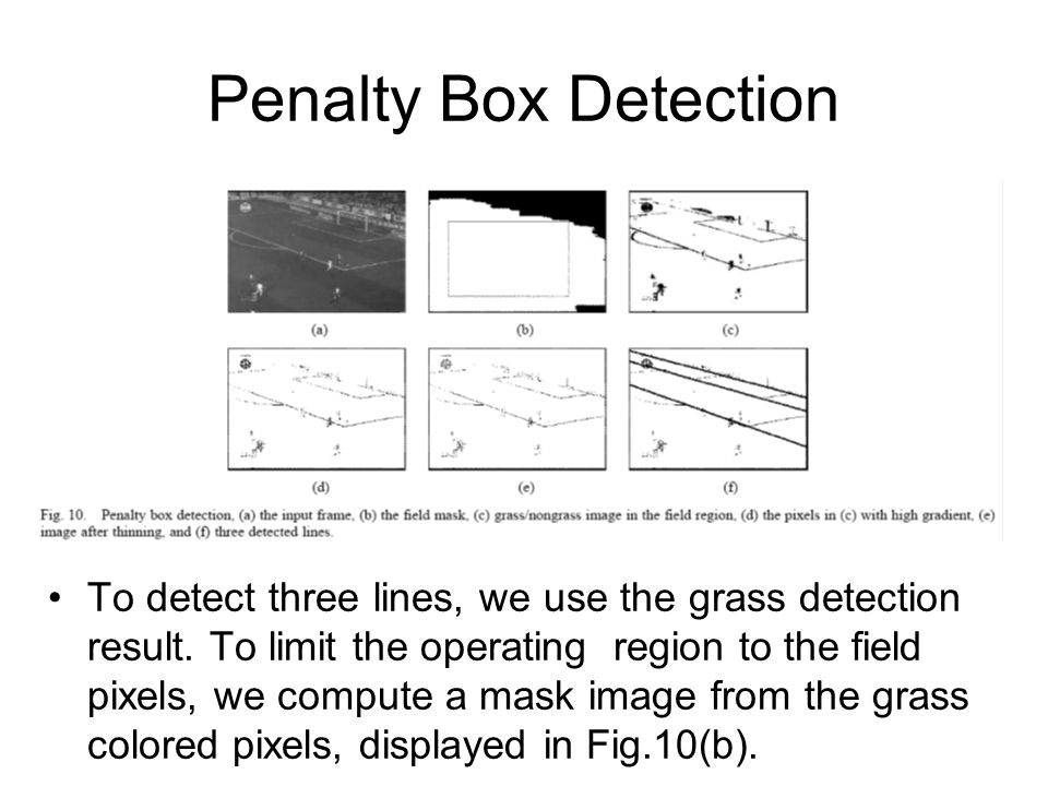 Penalty Box Detection To detect three lines, we use the grass detection result. To limit the operating region to the field pixels, we compute a mask i
