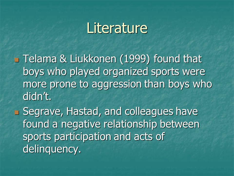 Literature Telama & Liukkonen (1999) found that boys who played organized sports were more prone to aggression than boys who didn't.