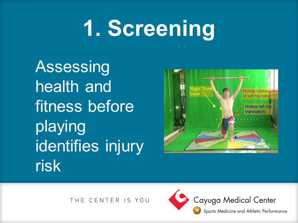 1. Screening Assessing health and fitness before playing identifies injury risk