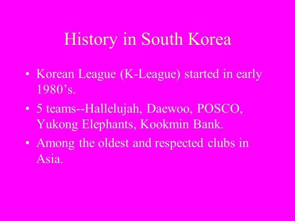 History in South Korea Korean League (K-League) started in early 1980's. 5 teams--Hallelujah, Daewoo, POSCO, Yukong Elephants, Kookmin Bank. Among the