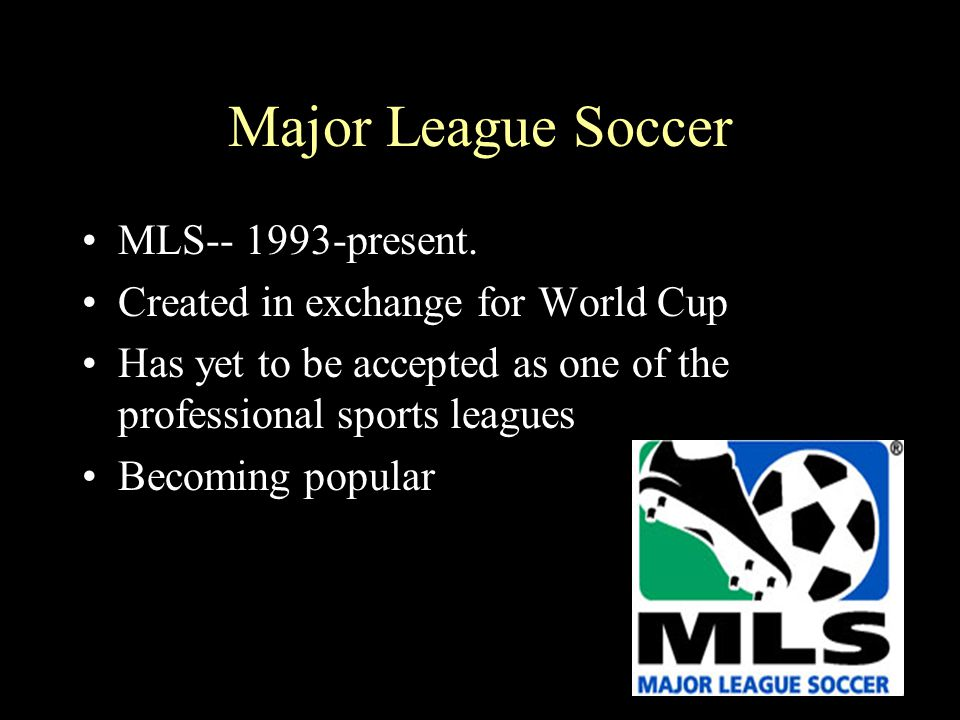 Major League Soccer MLS-- 1993-present. Created in exchange for World Cup Has yet to be accepted as one of the professional sports leagues Becoming po