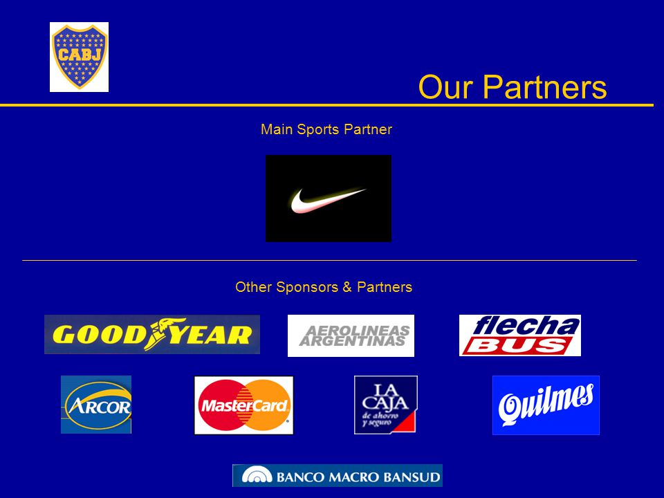 Our Partners Main Sports Partner Other Sponsors & Partners
