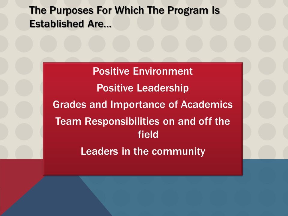 The Purposes For Which The Program Is Established Are...