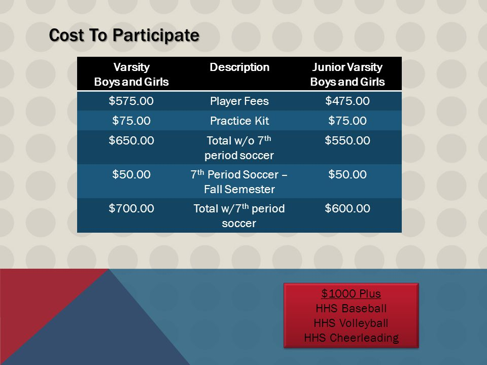 HHS Panther Soccer Booster Club 2014 Budget: $100,000