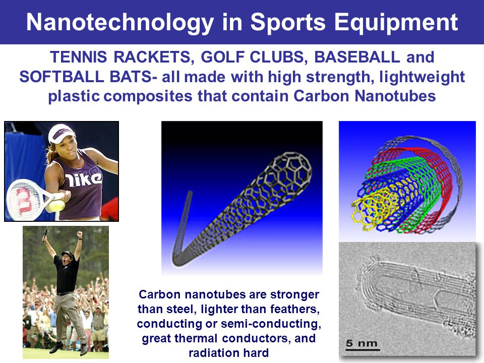 Nanotechnology in Sports Equipment TENNIS RACKETS, GOLF CLUBS, BASEBALL and SOFTBALL BATS- all made with high strength, lightweight plastic composites that contain Carbon Nanotubes Carbon nanotubes are stronger than steel, lighter than feathers, conducting or semi-conducting, great thermal conductors, and radiation hard