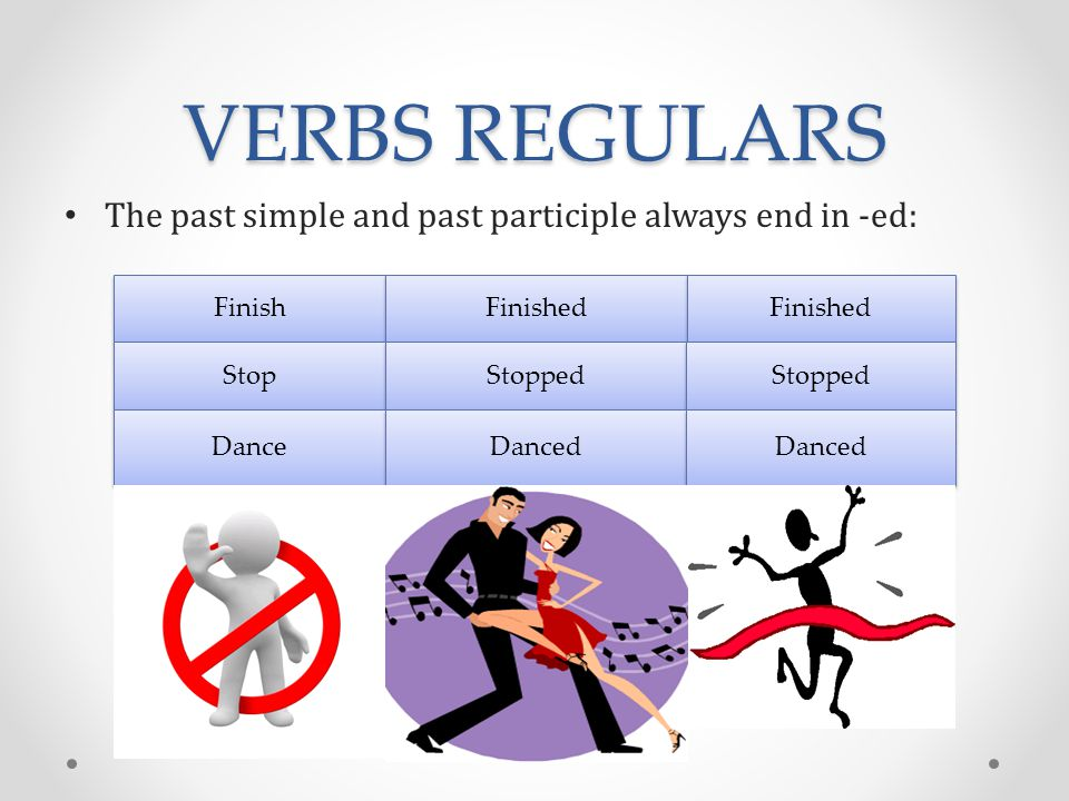 VERBS REGULARS The past simple and past participle always end in -ed: Finish Finished Stop Stopped Dance Danced