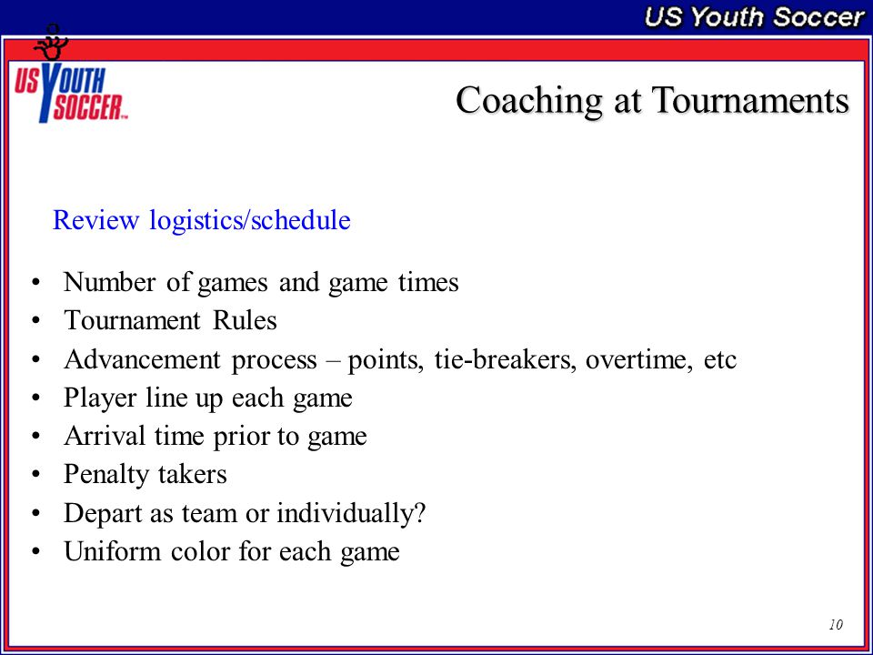 10 Review logistics/schedule Number of games and game times Tournament Rules Advancement process – points, tie-breakers, overtime, etc Player line up each game Arrival time prior to game Penalty takers Depart as team or individually.