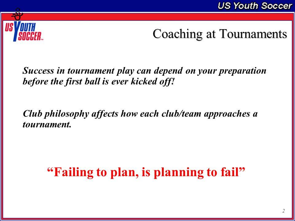 3 Coaching at Tournaments Pre-Tournament Tournament Post Tournament