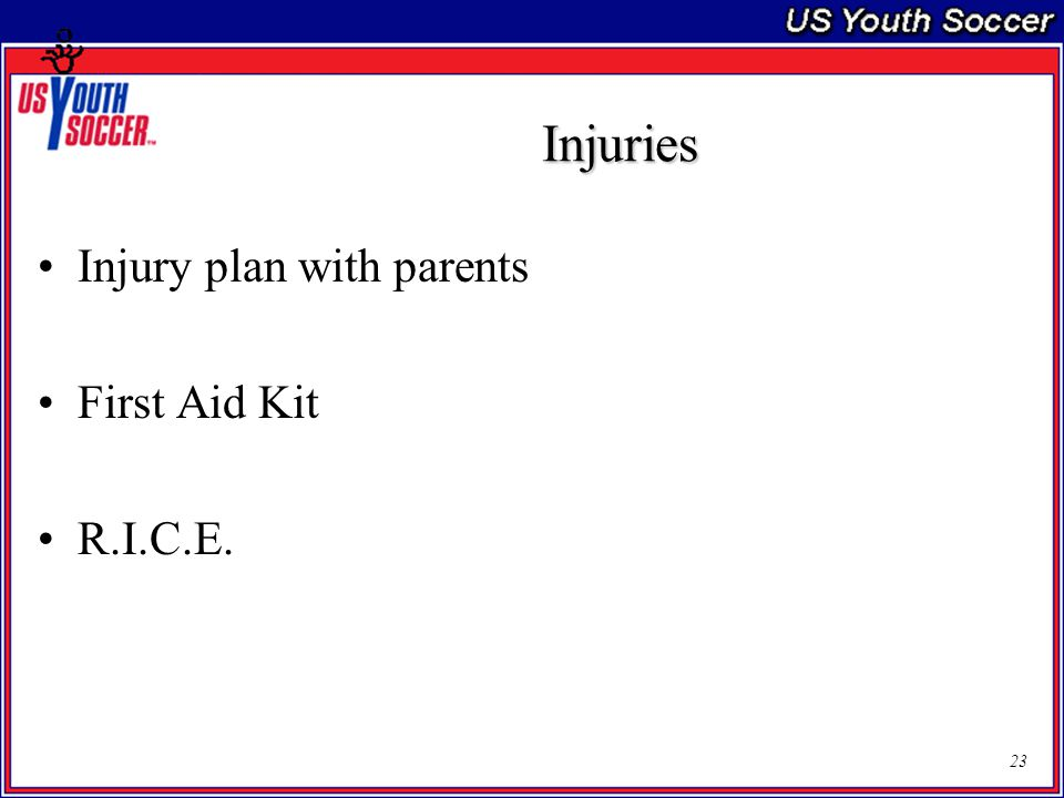 23 Injuries Injury plan with parents First Aid Kit R.I.C.E.