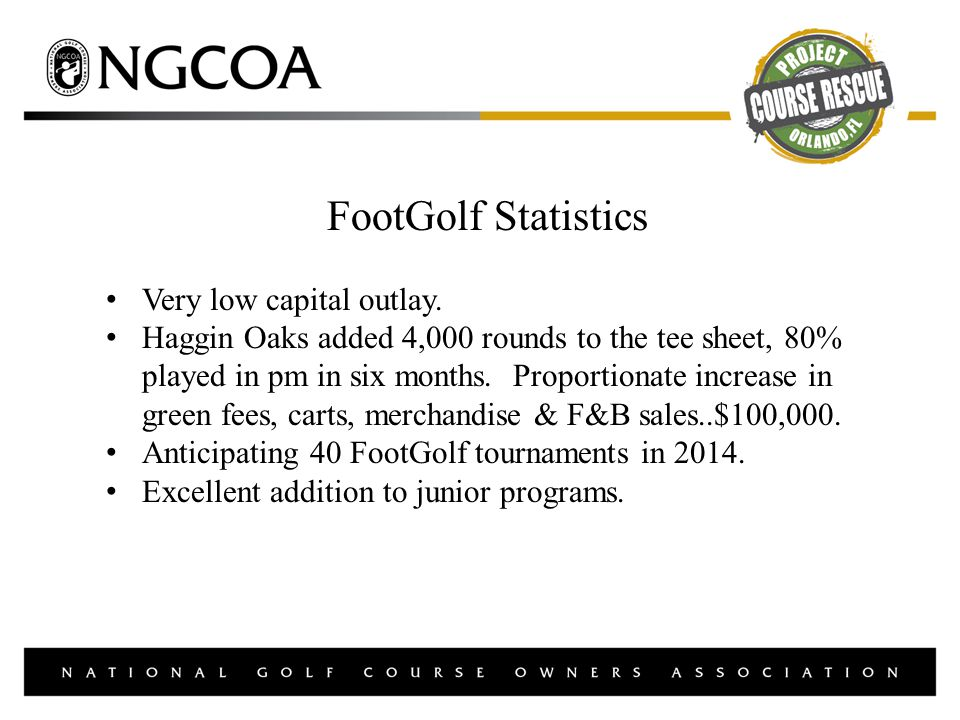 FootGolf Statistics Very low capital outlay.