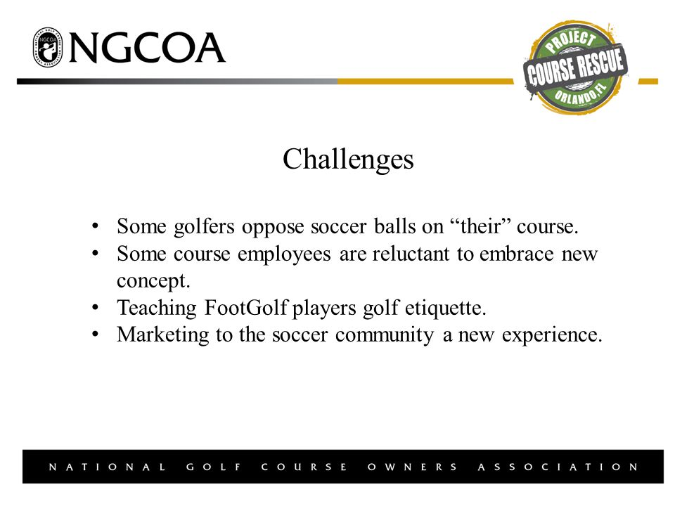 Challenges Some golfers oppose soccer balls on their course.