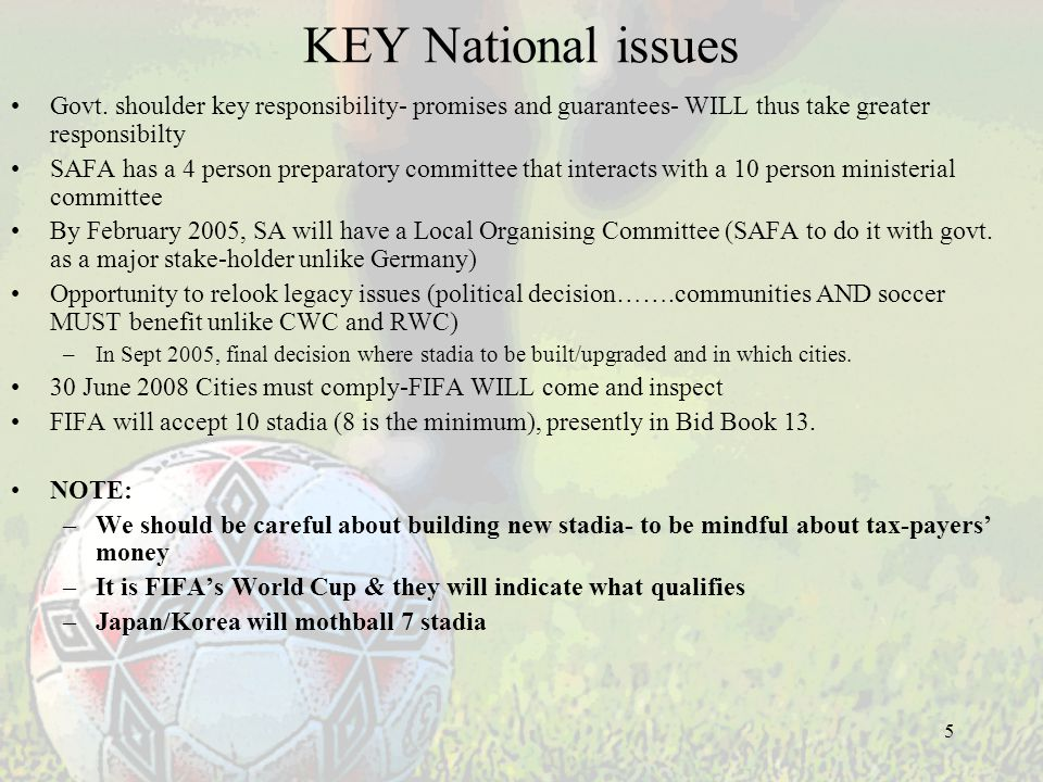 5 KEY National issues Govt.
