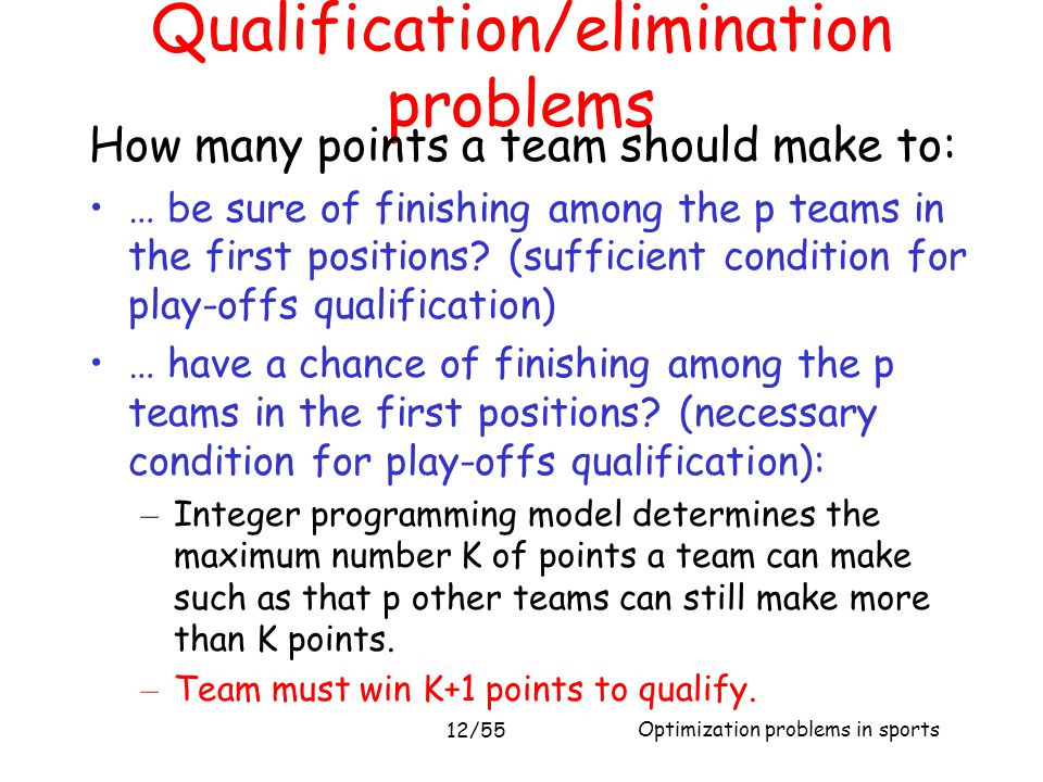 Optimization problems in sports 12/55 Qualification/elimination problems How many points a team should make to: … be sure of finishing among the p tea