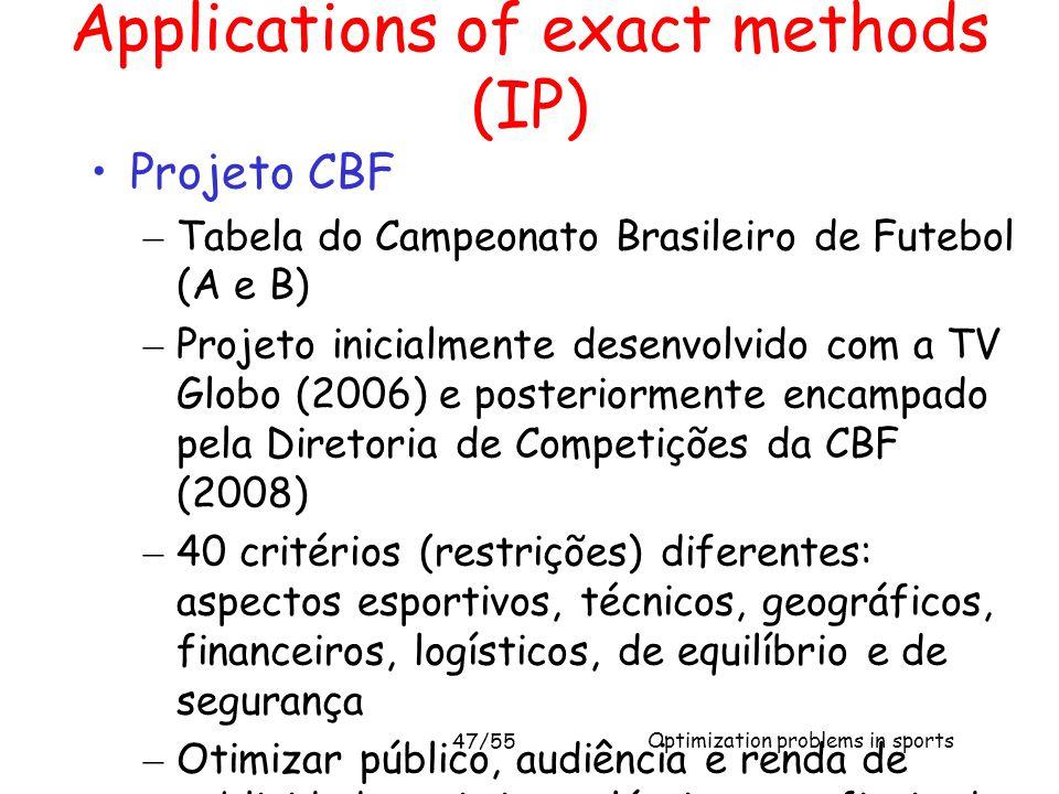 Optimization problems in sports Applications of exact methods (IP) Projeto CBF – Tabela do Campeonato Brasileiro de Futebol (A e B) – Projeto inicialm