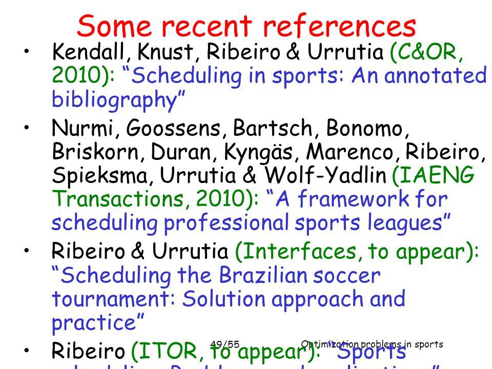 "Optimization problems in sports 49/55 Kendall, Knust, Ribeiro & Urrutia (C&OR, 2010): ""Scheduling in sports: An annotated bibliography"" Nurmi, Goossen"