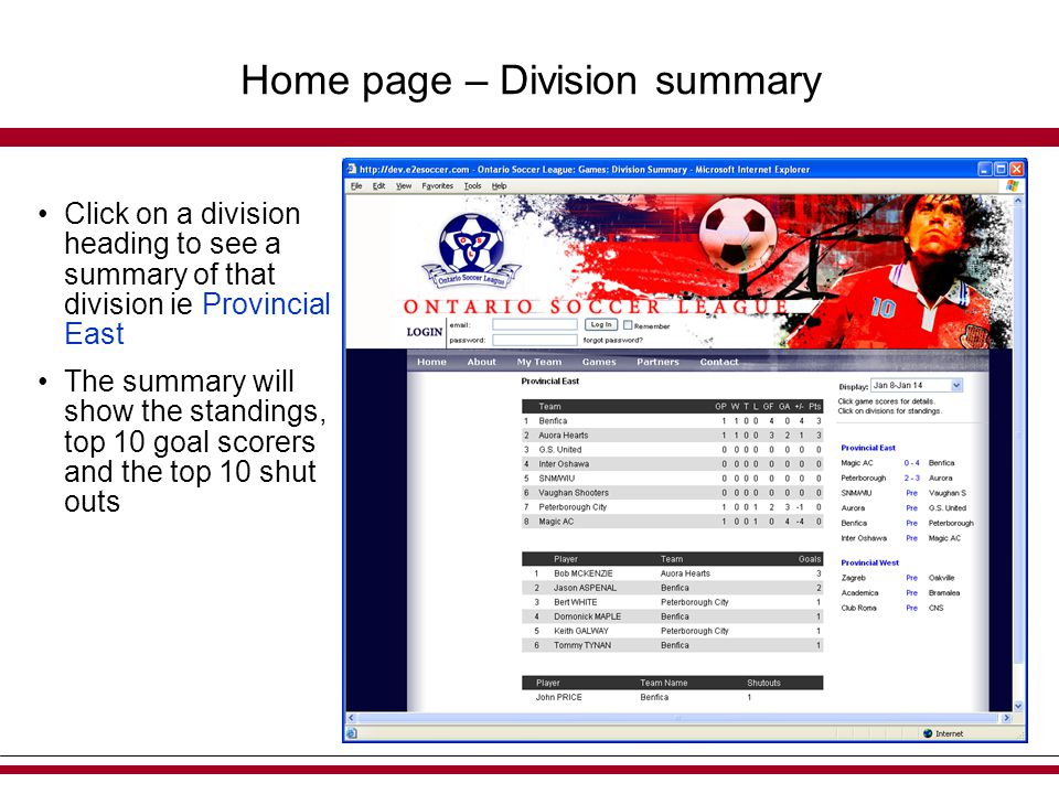 Home page – Division summary Click on a division heading to see a summary of that division ie Provincial East The summary will show the standings, top 10 goal scorers and the top 10 shut outs