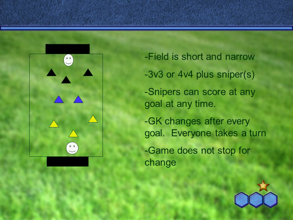 -Field is short and narrow -3v3 or 4v4 plus sniper(s) -Snipers can score at any goal at any time.