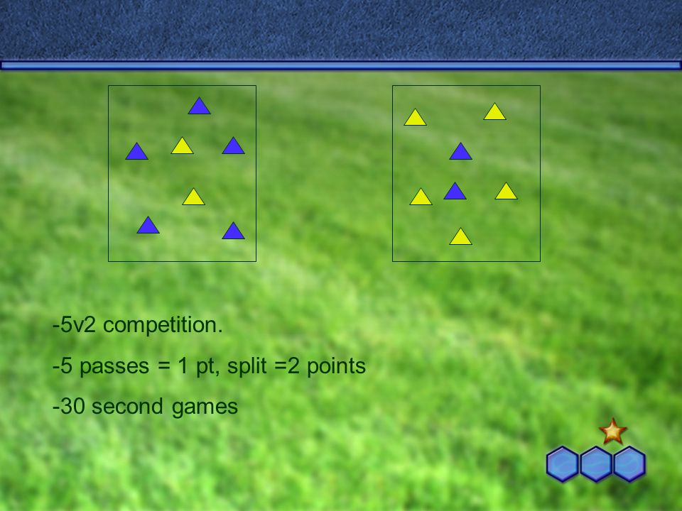 -5v2 competition. -5 passes = 1 pt, split =2 points -30 second games
