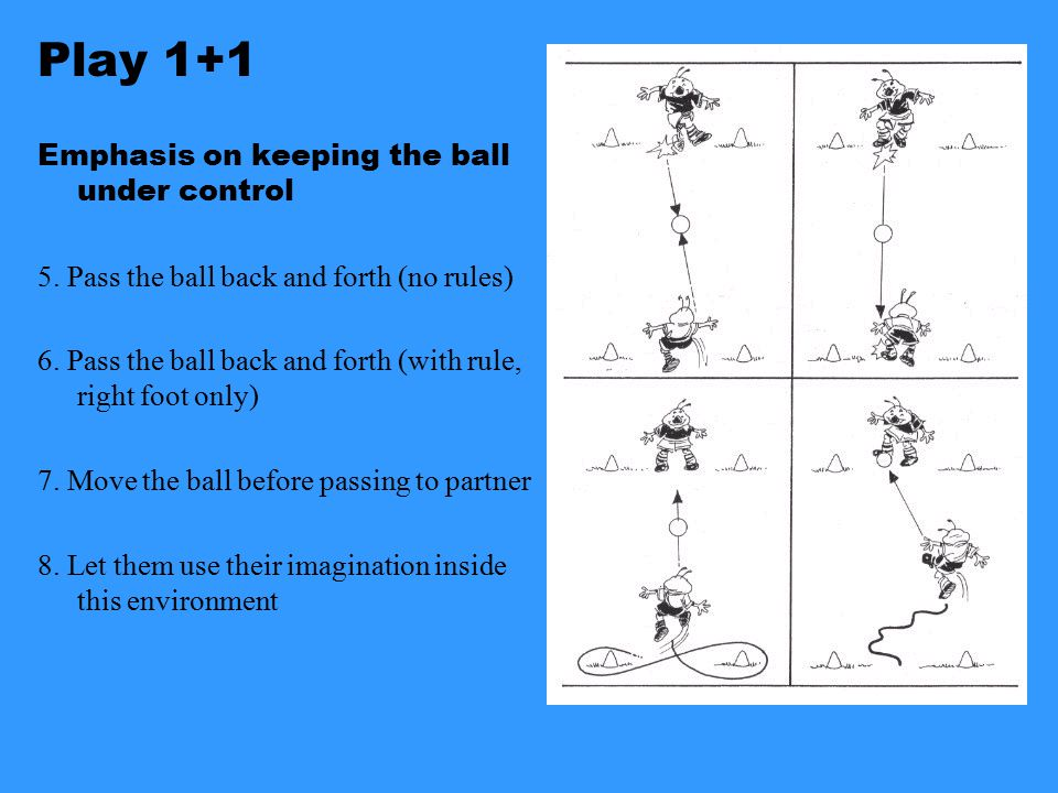 Play 1+1 Emphasis on keeping the ball under control 1.Moving the ball back and forth 2.Moving the ball in Figure 8 3.Mirror your partner 4.Challenge y