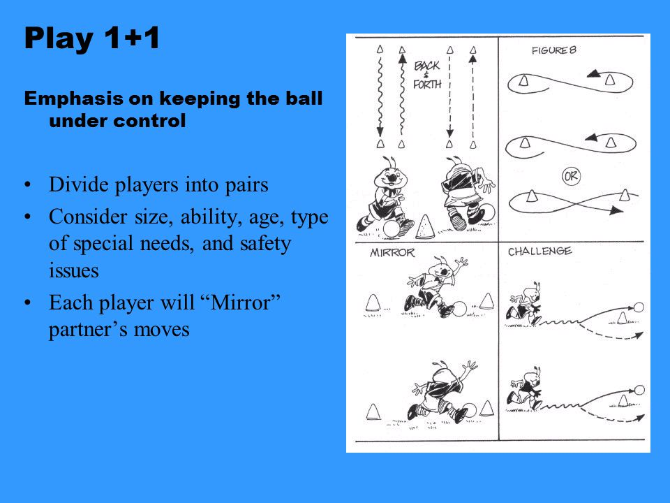 Play 1+1 Emphasis on keeping the ball under control Divide players into pairs Consider size, ability, age, type of special needs, and safety issues Each player will Mirror partner's moves