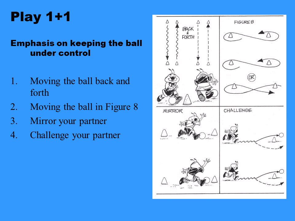 The 1 vs 1 Game Keep under Control As Attacker Meet…your opponent by dribbling straight at them and forcing them to defend Greet…your opponent by forcing them back on their heels with a sudden move (foot fake or body feint) Beat…your opponent by exploding past them