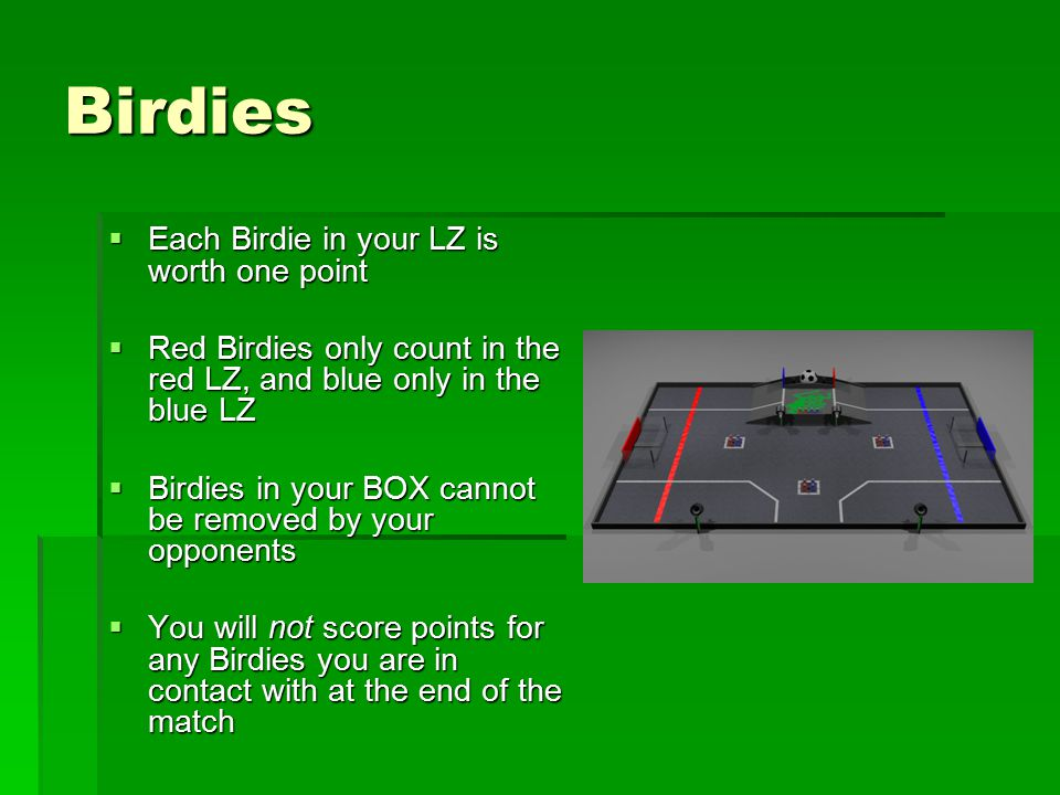 Birdies  Each Birdie in your LZ is worth one point  Red Birdies only count in the red LZ, and blue only in the blue LZ  Birdies in your BOX cannot be removed by your opponents  You will not score points for any Birdies you are in contact with at the end of the match