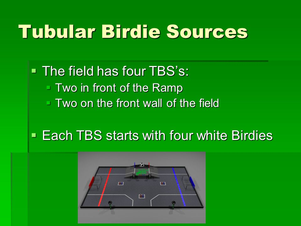 Tubular Birdie Sources  The field has four TBS's:  Two in front of the Ramp  Two on the front wall of the field  Each TBS starts with four white Birdies