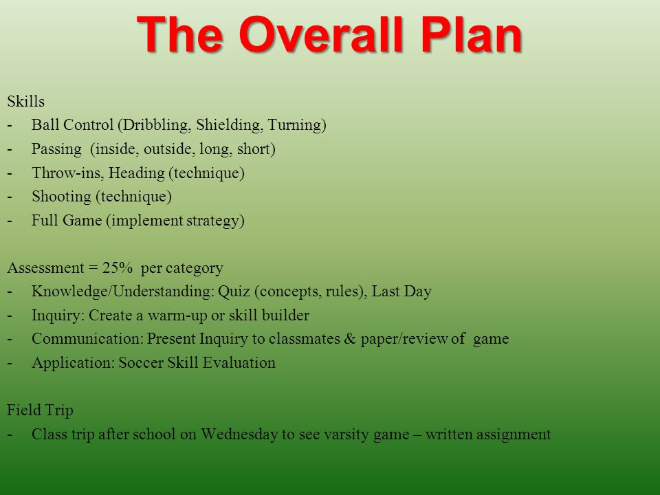 The Overall Plan Skills -Ball Control (Dribbling, Shielding, Turning) -Passing (inside, outside, long, short) -Throw-ins, Heading (technique) -Shooting (technique) -Full Game (implement strategy) Assessment = 25% per category -Knowledge/Understanding: Quiz (concepts, rules), Last Day -Inquiry: Create a warm-up or skill builder -Communication: Present Inquiry to classmates & paper/review of game -Application: Soccer Skill Evaluation Field Trip -Class trip after school on Wednesday to see varsity game – written assignment