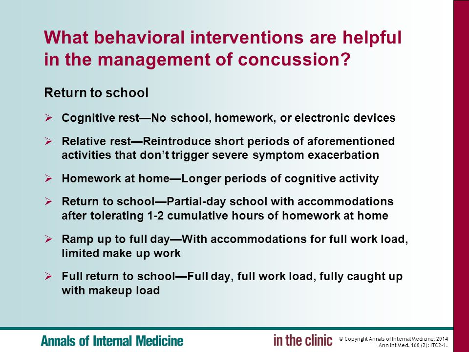 © Copyright Annals of Internal Medicine, 2014 Ann Int Med. 160 (2): ITC2-1. What behavioral interventions are helpful in the management of concussion?