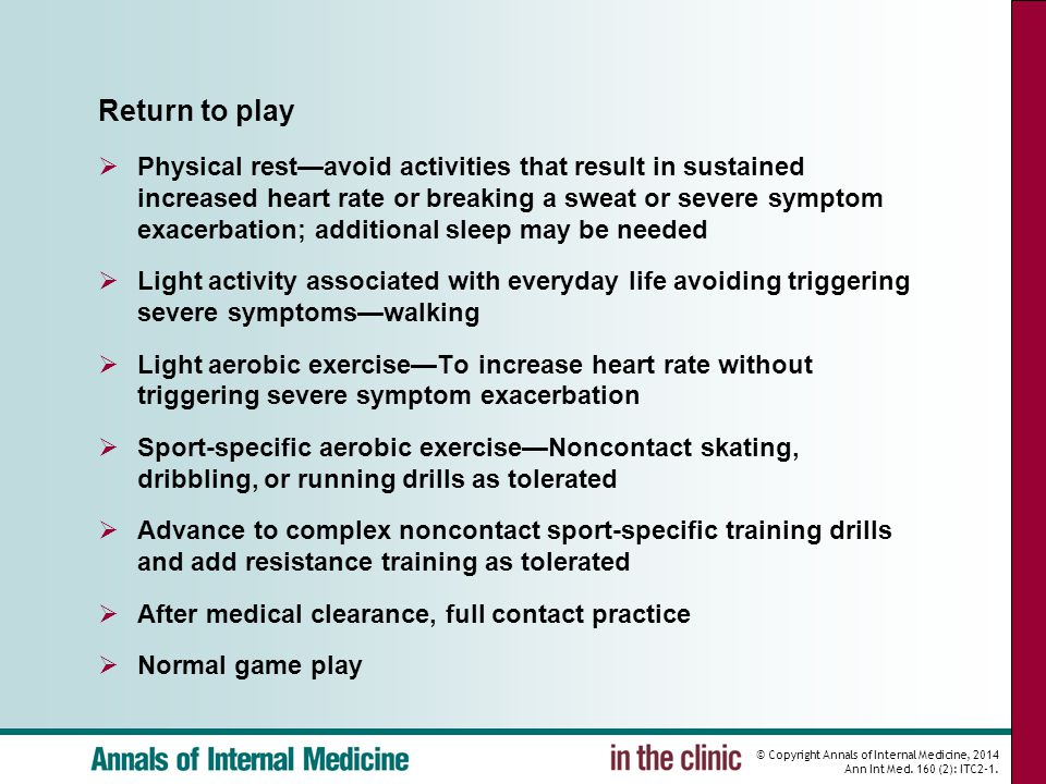 © Copyright Annals of Internal Medicine, 2014 Ann Int Med. 160 (2): ITC2-1. Return to play  Physical rest—avoid activities that result in sustained i