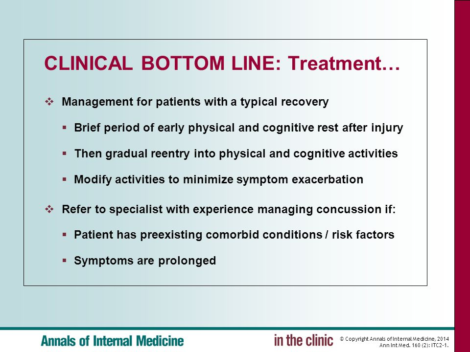 © Copyright Annals of Internal Medicine, 2014 Ann Int Med. 160 (2): ITC2-1. CLINICAL BOTTOM LINE: Treatment…  Management for patients with a typical