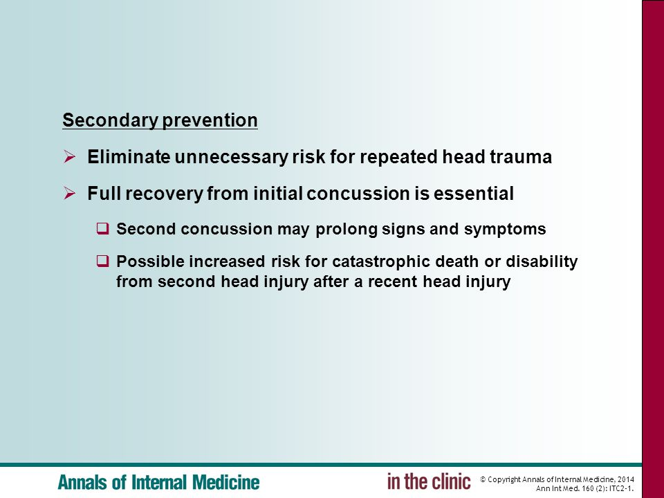 © Copyright Annals of Internal Medicine, 2014 Ann Int Med. 160 (2): ITC2-1. Secondary prevention  Eliminate unnecessary risk for repeated head trauma