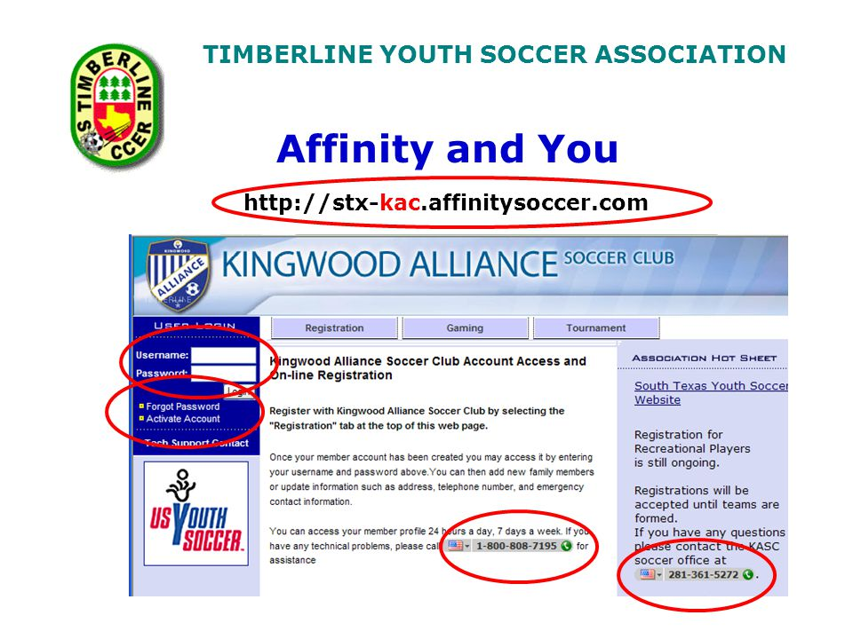 TIMBERLINE YOUTH SOCCER ASSOCIATION http://stx-kac.affinitysoccer.com Affinity and You