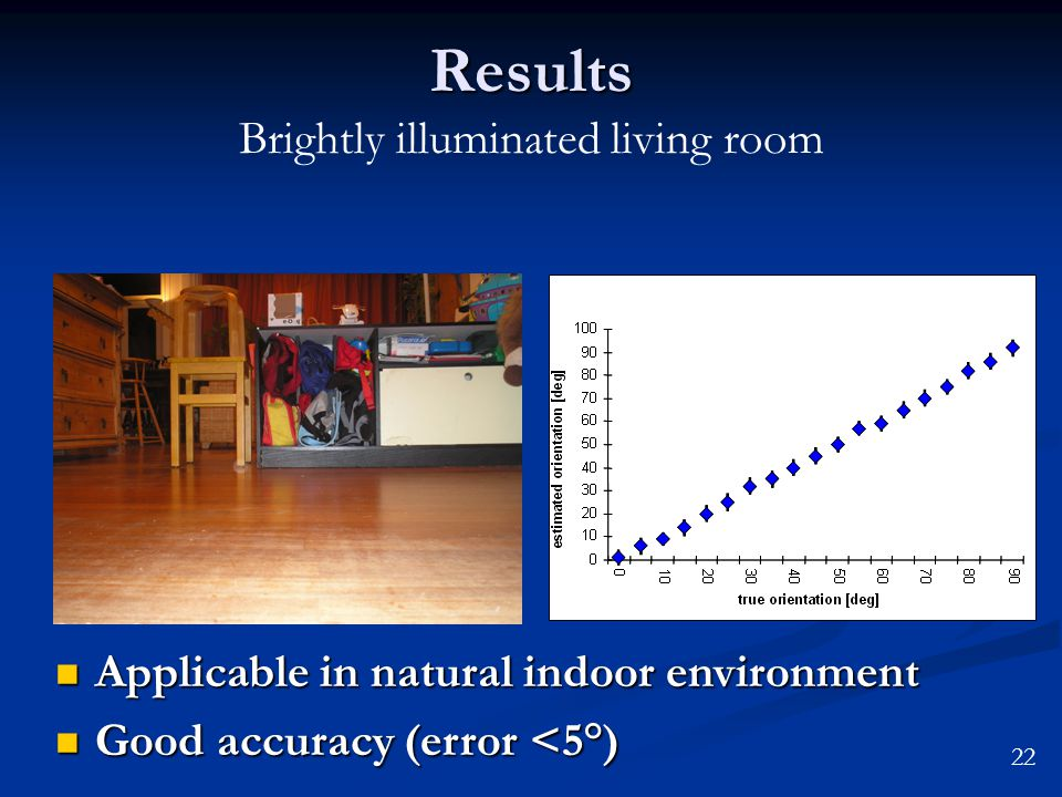 Results Results Brightly illuminated living room Applicable in natural indoor environment Applicable in natural indoor environment Good accuracy (error <5°) Good accuracy (error <5°) 22