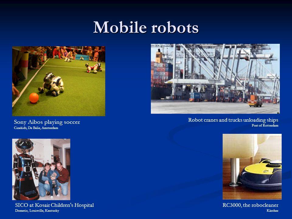 Mobile robots SICO at Kosair Children's Hospital Dometic, Louisville, Kentucky Sony Aibos playing soccer Cinekids, De Balie, Amsterdam Robot cranes an