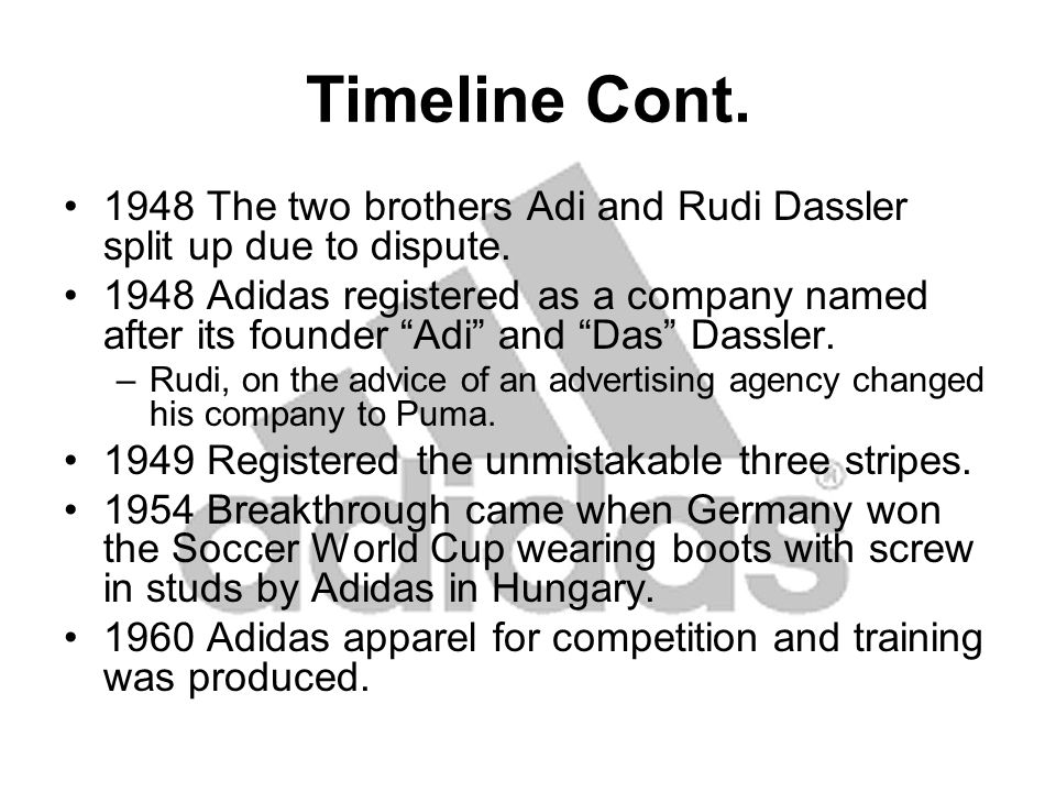 Timeline Cont.1978 Adi Dassler dies at the age of 78.