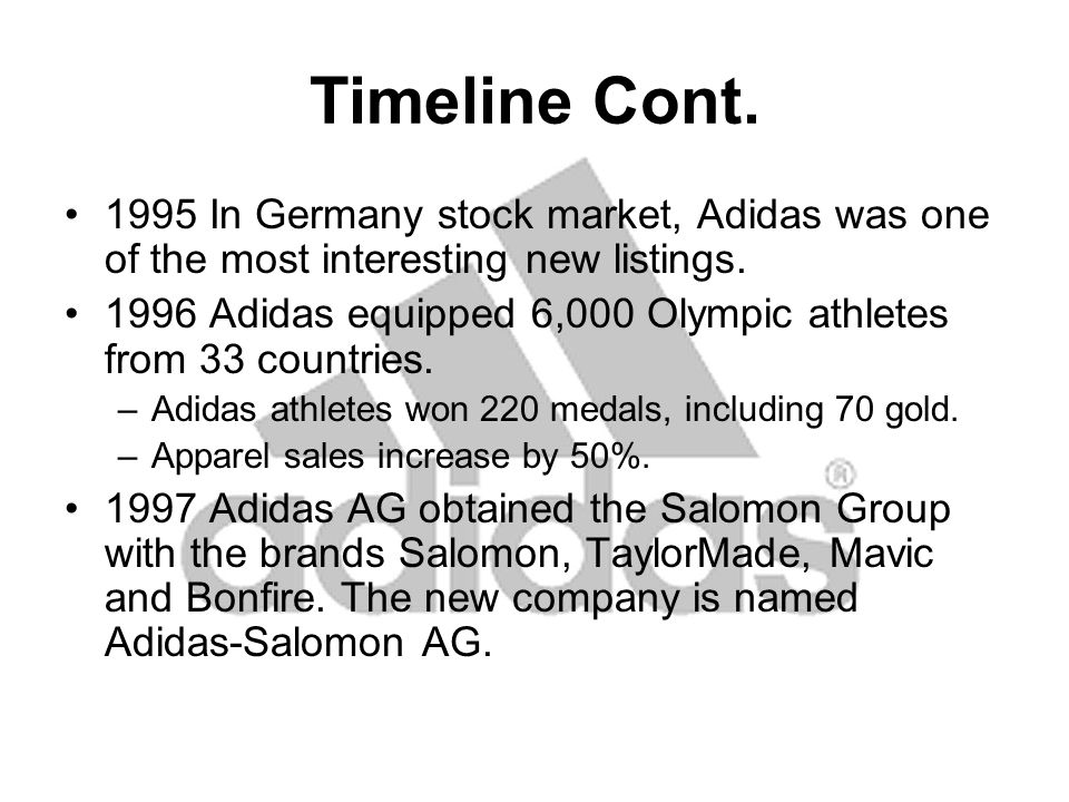 Timeline Cont.2001 first Adidas original store opened in Berlin followed by Tokyo in December.